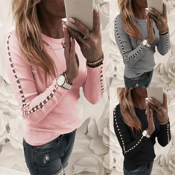 2020 O Neck Hollow Elegant Long Sleeve Pink Knit Sweaters