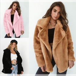 New Winter Soft Plush Ladies Fashionable Stylish Coat - SlickWearApparel