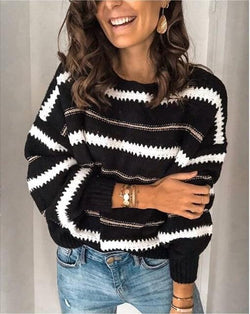 Loose Striped Casual Long Sleeved Pullover Sweater - SlickWearApparel