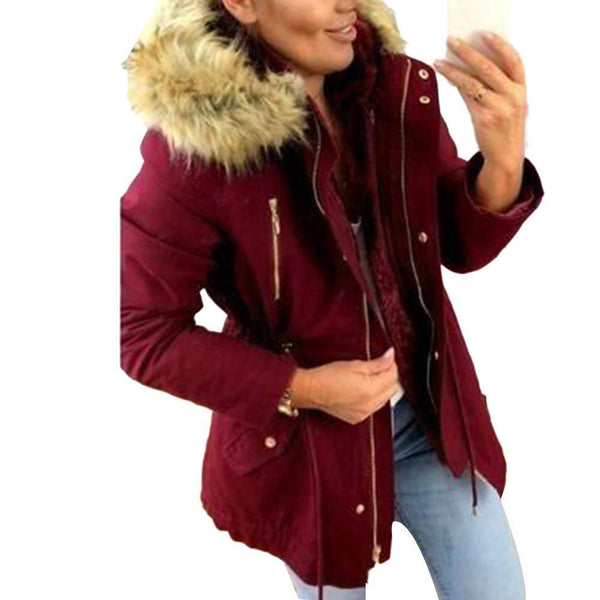 Women's Thick Solid Parka With A Fur Designer Hood