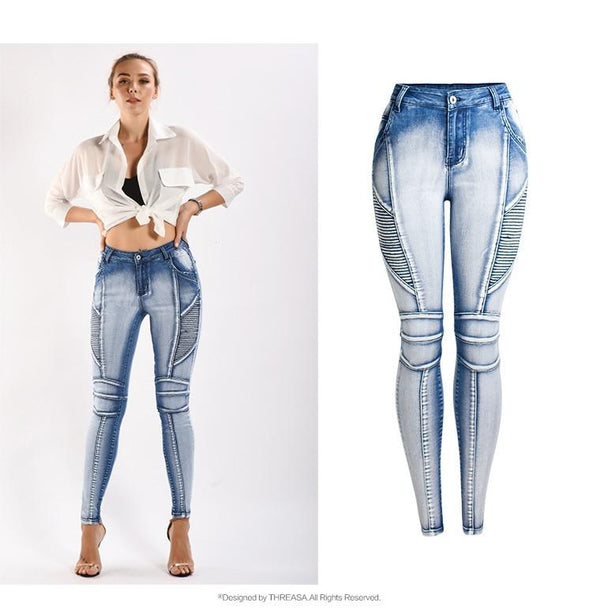 New Style Pleated Mid-Waisted Denim Jeans - SlickWearApparel