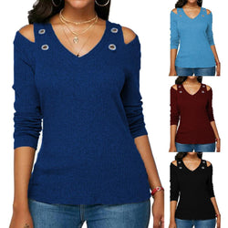 Women's Solid Color V Neck Long Sleeve Blouse - SlickWearApparel