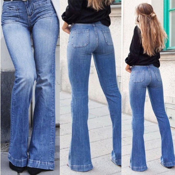 New 2020 Vintage Style Modern Bell Bottom Ladies Jeans - SlickWearApparel