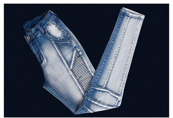 New Style Button Fly Jeans With Fabric Design - SlickWearApparel
