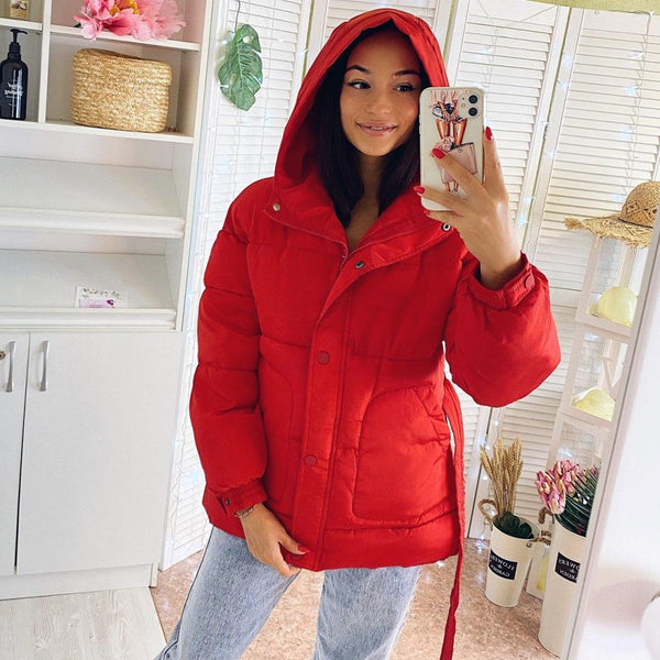 2020 New Fashion Solid Hooded Zipper Parka's
