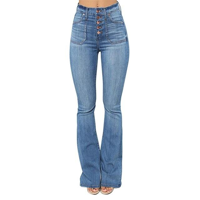 High Waisted Slim Fit Bell Bottom Jeans - SlickWearApparel