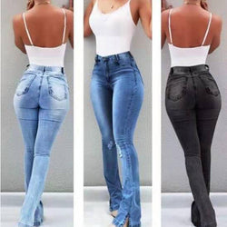 Hot New Slim Curve Forming Open Bottom Denim Jeans - SlickWearApparel