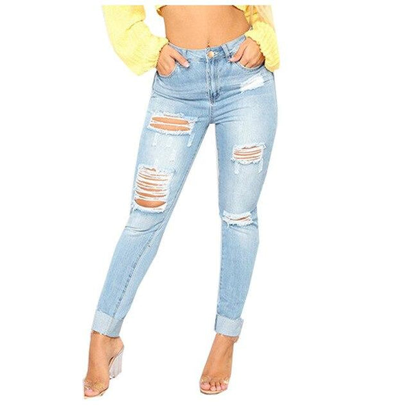 Fashion Bomb New Cultivate Oneself Nine-Cent Jeans - SlickWearApparel