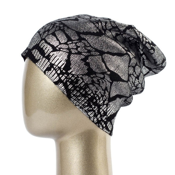 Women's Cashmere Metallic Skullie Beany Hats-slickwearapparel