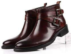 Double Buckle Men's Ankle Genuine Leather Boots-slickwearapparel