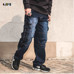 Men`s Heavy Duty Multi Pockets Loose Fit Cargo Denim Pants - SlickWearApparel