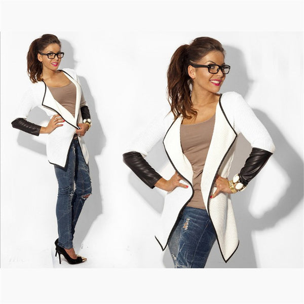 Women's Long Sleeved Leather Cardigan Jackets-slickwearapparel