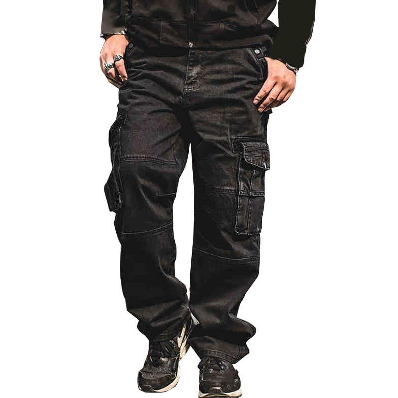Men's Casual Cargo Jeans Pants With Multi Pockets