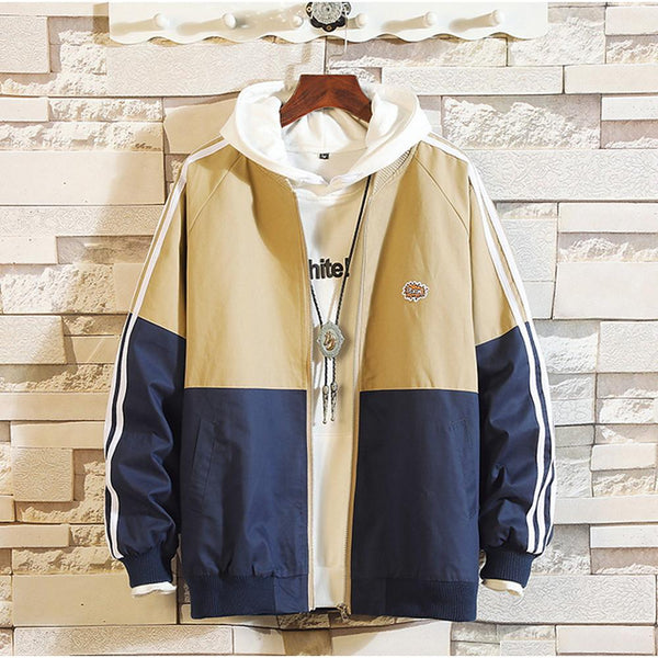 Men's Color Block Hooded Long Sleeve Jacket