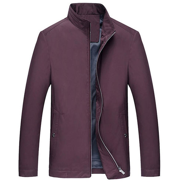 Men's Fall Regular Jacket, Solid Colored Long Sleeve Polyester Jacket