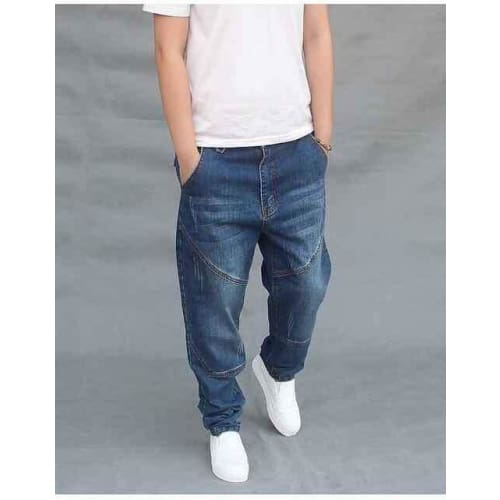 Relaxed Slim Fit Designer Zip-Fly Blue Mens Jeans - Blue / 28