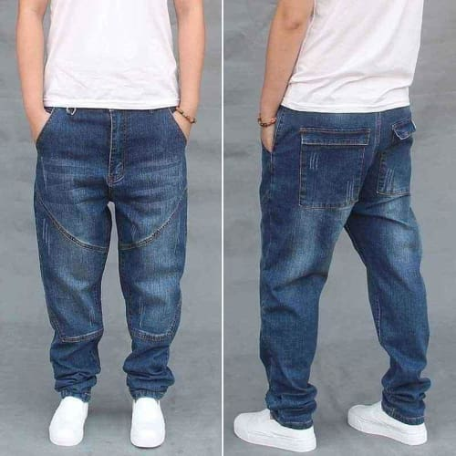 Relaxed Slim Fit Designer Zip-Fly Blue Mens Jeans