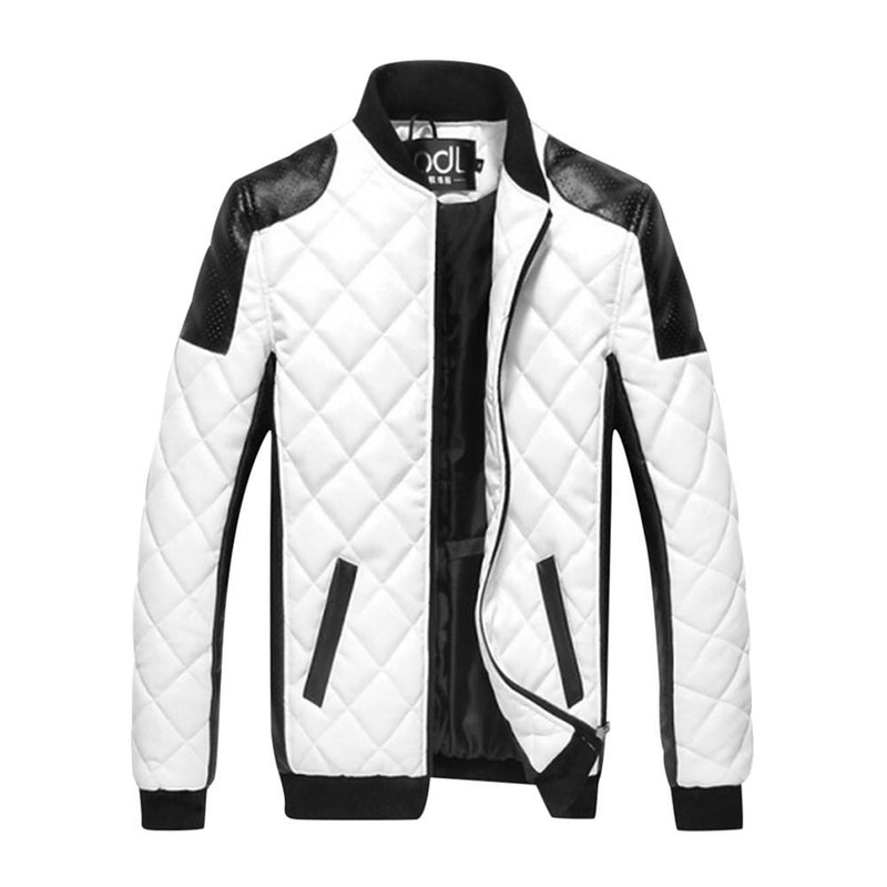 Men's Winter Plus Size Jacket, Color Block Black & White