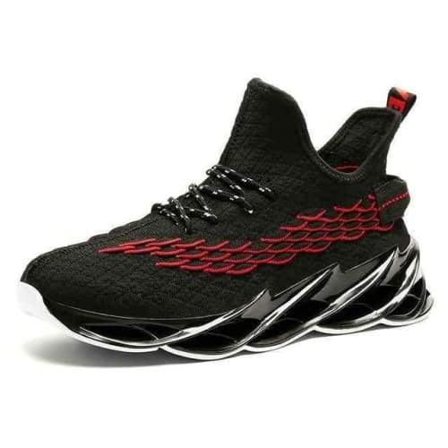 Running Stylish Lace-Up Walking Sneakers - 9013Black Red / 11