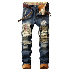 Streetwear Pattern Designer Blue Denim Jeans - 812 NO BEST USA SIZE / 29