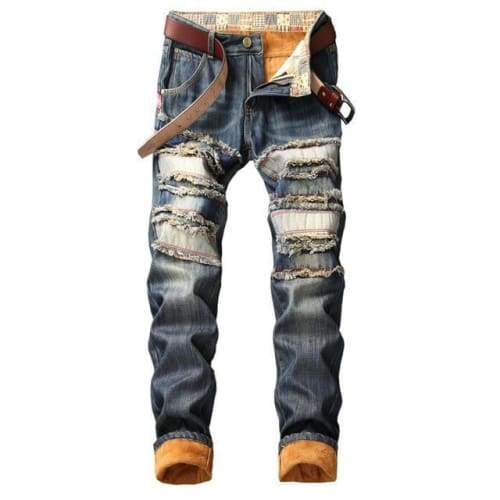 Streetwear Pattern Designer Blue Denim Jeans - 813 NO BEST USA SIZE / 29