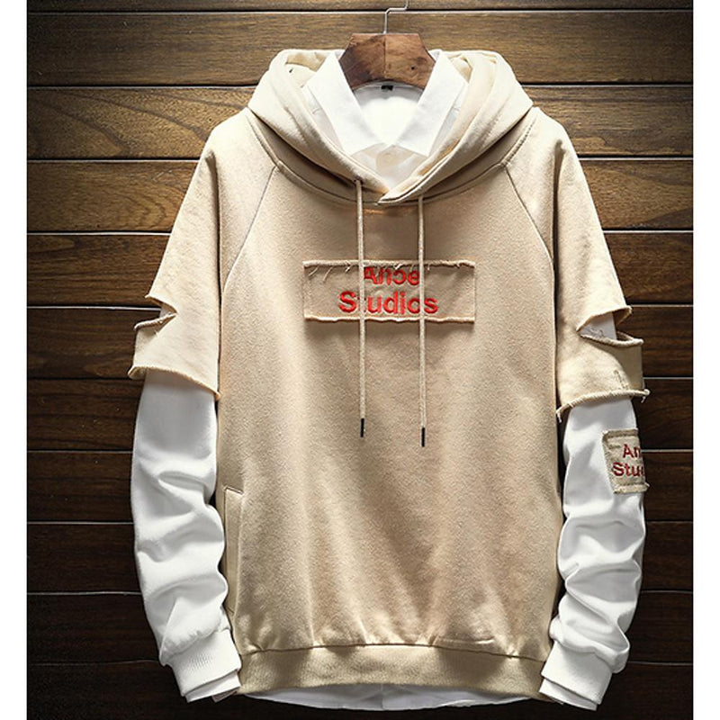 Men's Long Sleeve - Solid Colored / Letter Hooded Beige Sweatshirt - SlickWearApparel