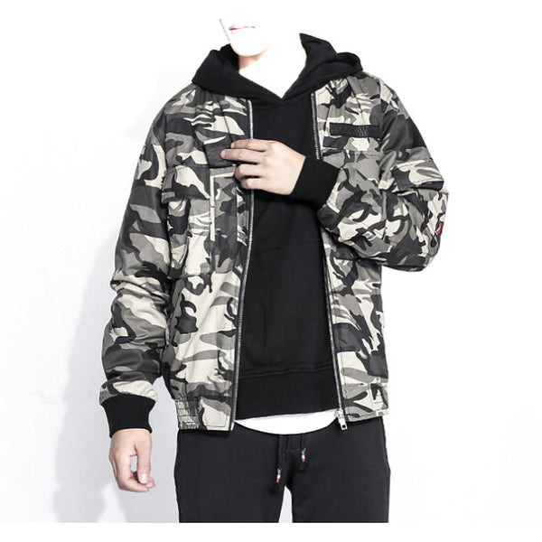 Men's Jacket Camo / Camouflage V Neck Long Sleeve