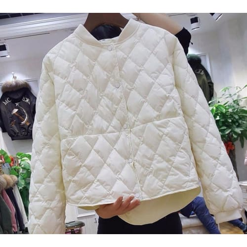 Womens Baseball White Duck Down Pleated Jackets