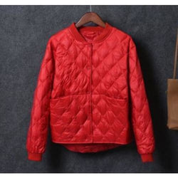 Womens Baseball White Duck Down Pleated Jackets - red / S