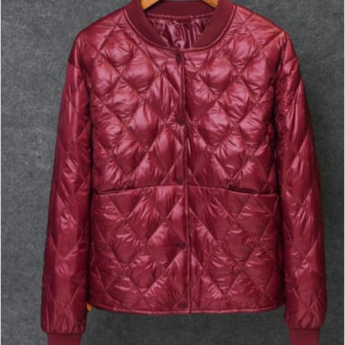 Womens Baseball White Duck Down Pleated Jackets - wine red / M