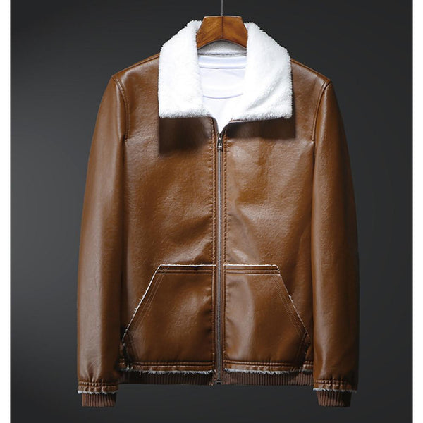 Men's Fall Leather Jacket Solid Colored Collar Long Sleeve PU
