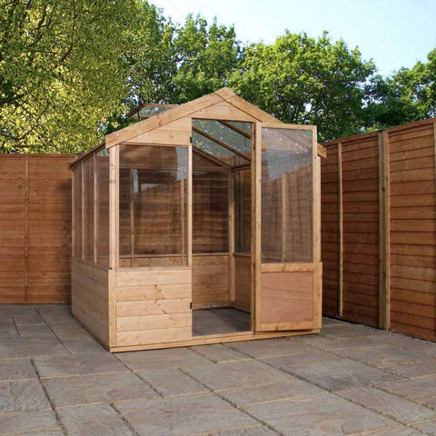 square wooden greenhouse