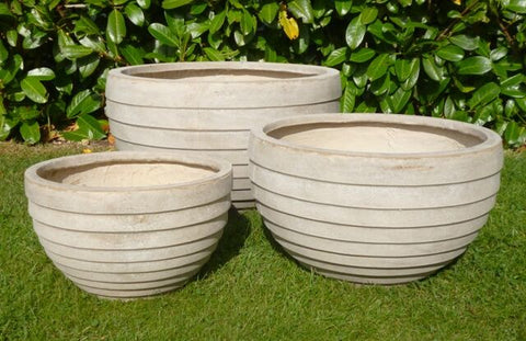 Round planters 3 set - stone colour
