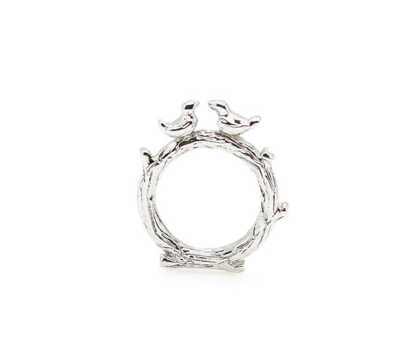Silver Love Birds Ring
