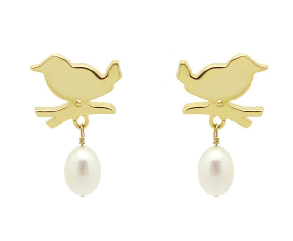 Gold Bird Pearl Drop Earrings