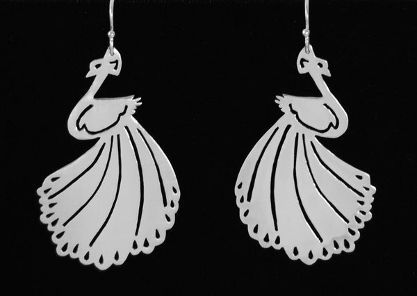 Fanned Tail Peacock Earrings