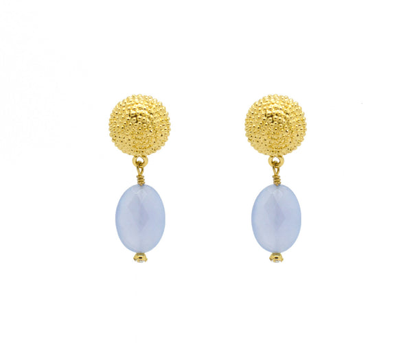 Blue Chalcedony Dot Earrings