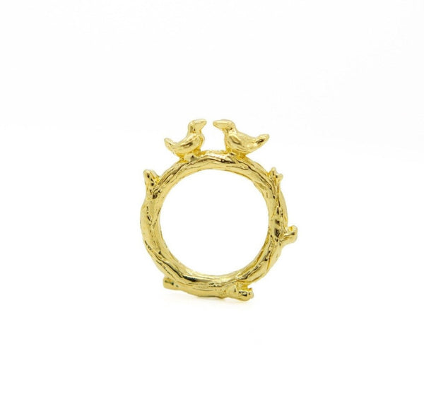 Gold Love Birds Ring