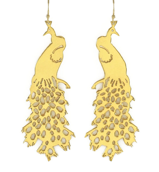 Spotted Train Peacock Earrings
