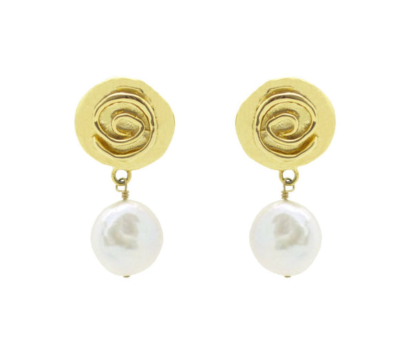 Gold Rosette Pearl Drop Earrings