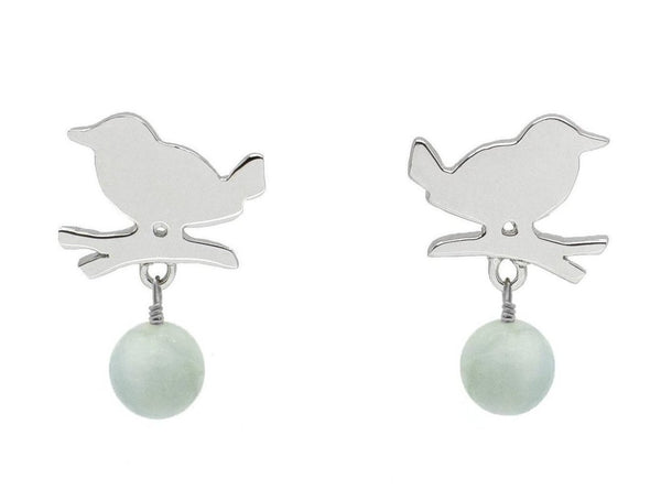 Silver Bird Aquamarine Drop Earrings