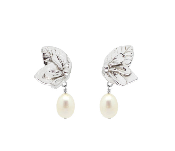 Silver Leaf Pearl Drop Earrings