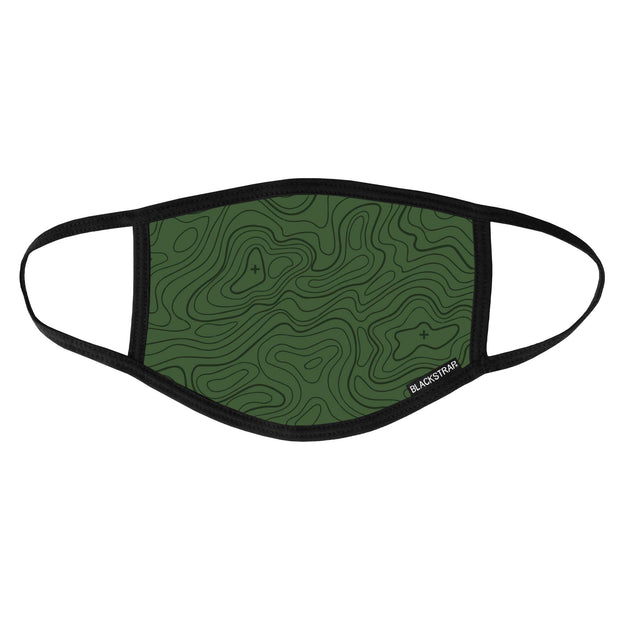 BlackStrap Civil Mask Topo Time Forest Green USA Made Public Safety Face Mask - Top View