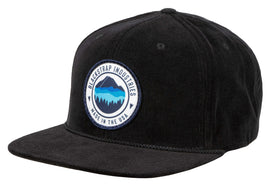 BlackStrap Snapback Hat Corduroy Black with Mountain Horizon Logo