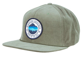 BlackStrap Snapback Hat Corduroy Olive with Mountain Horizon Logo