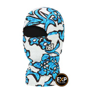 BlackStrap The Kids Expedition Hood Balaclava Floral Comic Blue USA Made Facemask