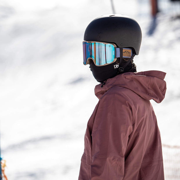 BlackStrap The Hood Balaclava skier Wearing Under Helmet in Snow