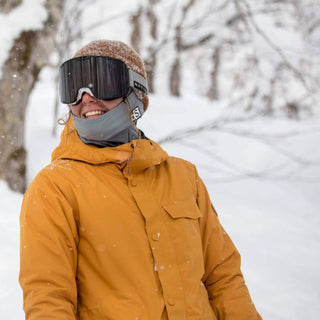 BlackStrap The Hood Balaclava Skier Wearing Under Beanie in Snow