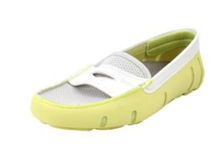 SWIMS Women's Penny Loafer - LIME/WHITE