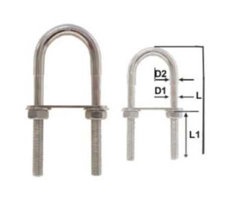 STEPPED STAINLESS STEEL U-BOLT 10 x 76mm